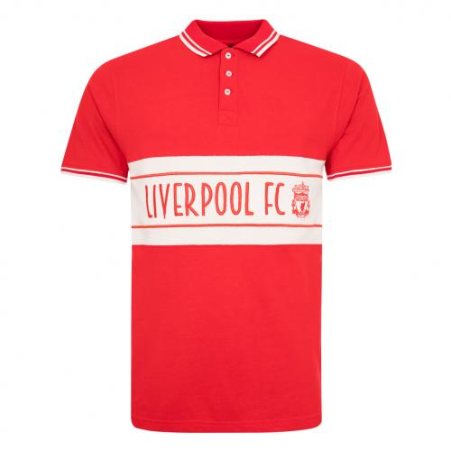 LFC Mens Red Panel Crest Polo Shirt