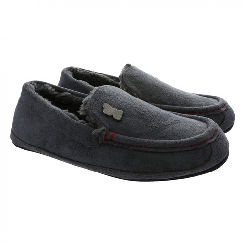 LFC Mens Grey Moccasin Slippers