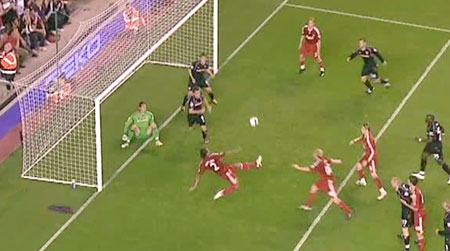 Glen Johnson scores for Liverpool against Stoke