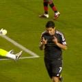 Suarez celebrates against Exeter City