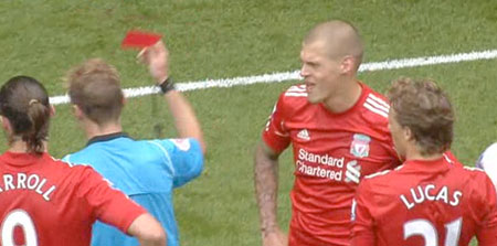 Martin Skrtel sent off against Spurs
