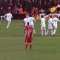 Luis Suarez scores a free kick against Zenit St Petersburg