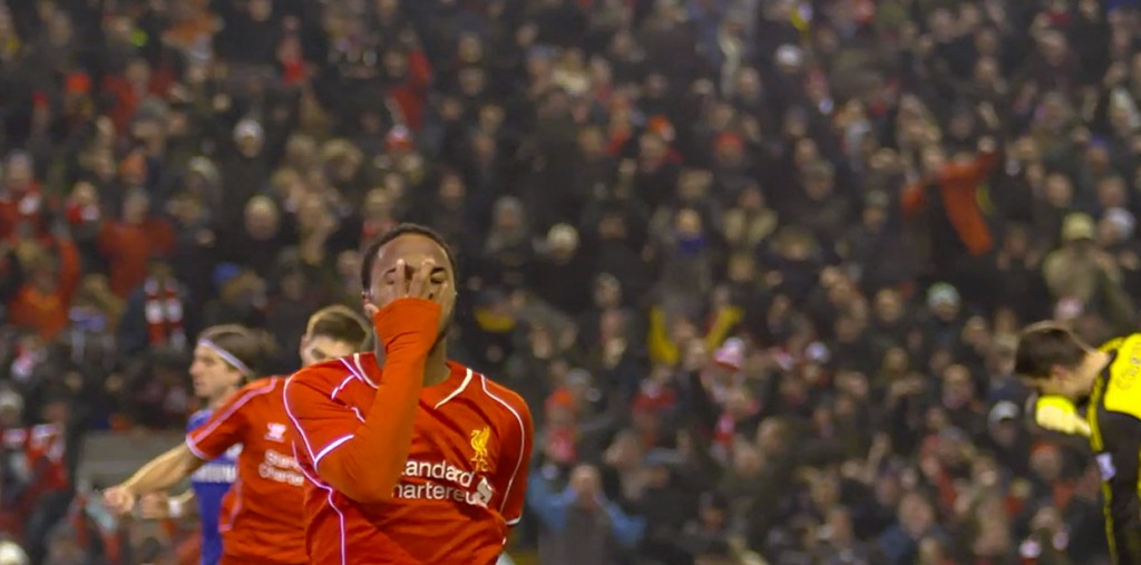 Raheem Sterling celebrates his semi final goal against Chelsea.