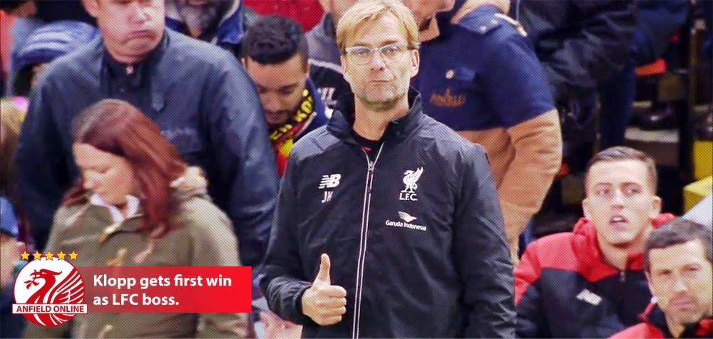 Jurgen Klopp gets first win as Liverpool boss