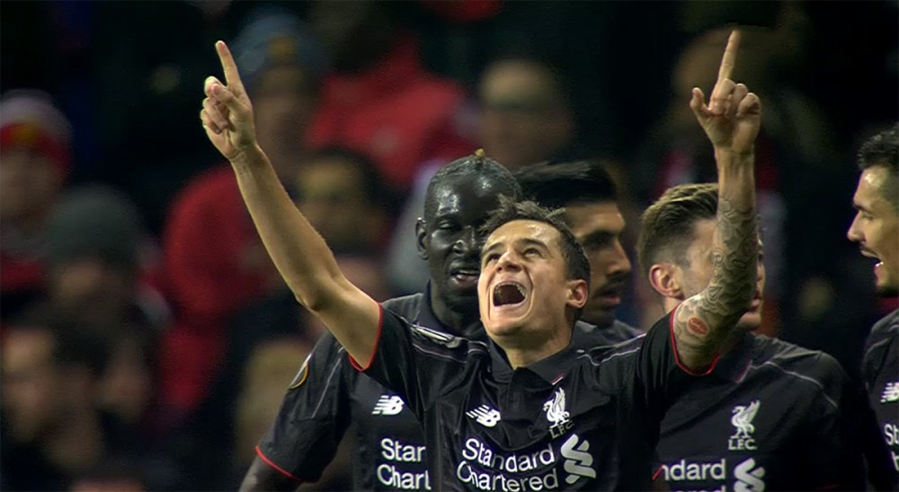 Coutinho celebrates his goal against United