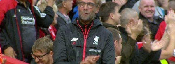 Jurgen Klopp enjoys the win over Hull at Anfield