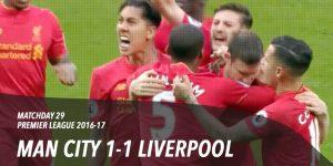 Man City 1-1 Liverpool, Premier League