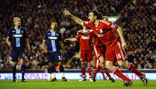 Kyrgiakos celebrates the third against West Ham [PicA]