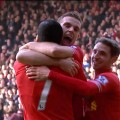 Henderson, Suarez and Allen celebrate the reds first goal