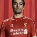Luis Suarez in the new LFC home kit 2014-15