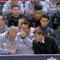 Liverpool bench v FC Basel at Anfield