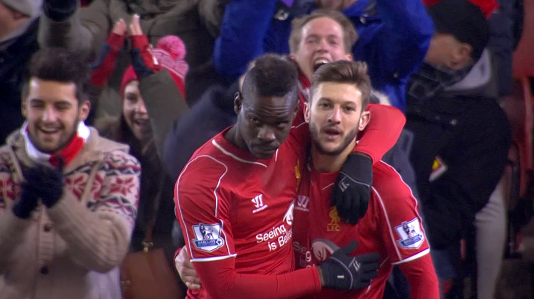 Mario Balotelli scores his first Liverpool league goal against Spurs