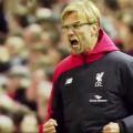 Jurgen Klopp celebrates Benteke's goal against Southampton