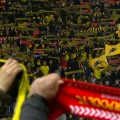 Dortmund and Liverpool fans sing YNWA at the Westfalenstadion
