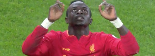 Sadio Mane scores the derby winner at Goodison
