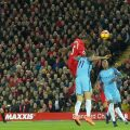 Gini Wijnaldum scores a bullet header against Man City