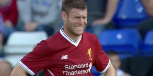 James Milner after scoring against Tranmere Rovers [Pre-Season 2017-18]