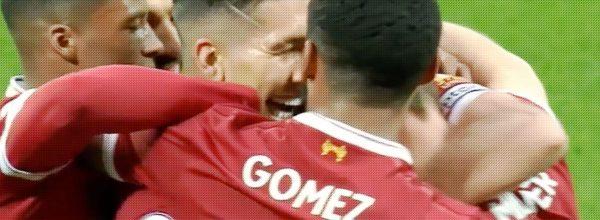 Firmino celebrates his goal v Huddersfield