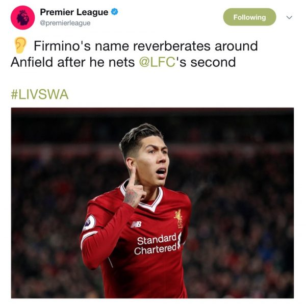 Firmino's name sung at Anfield