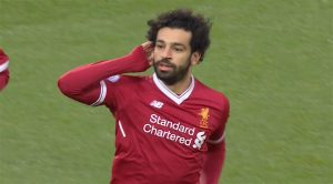 Salah celebrates his 20th league goal in 25 games