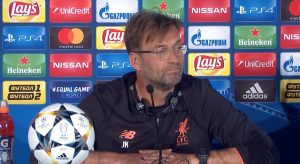 Klopp in his UEFA Champions League Final pre-match press conference