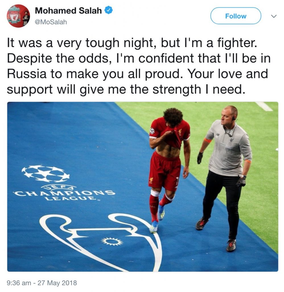 Mohamed Salah 'confident' of being fit in time for World Cup finals