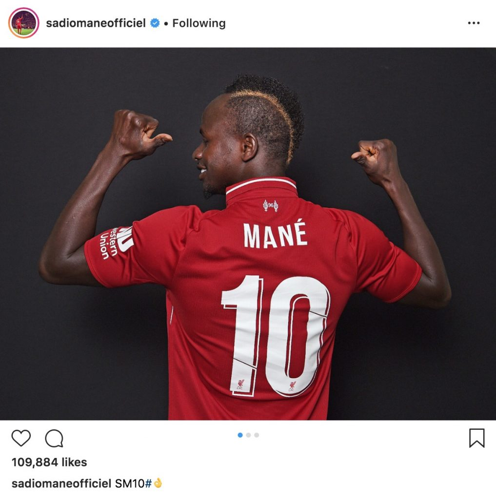 Sadio Mane number 10 LFC shirt
