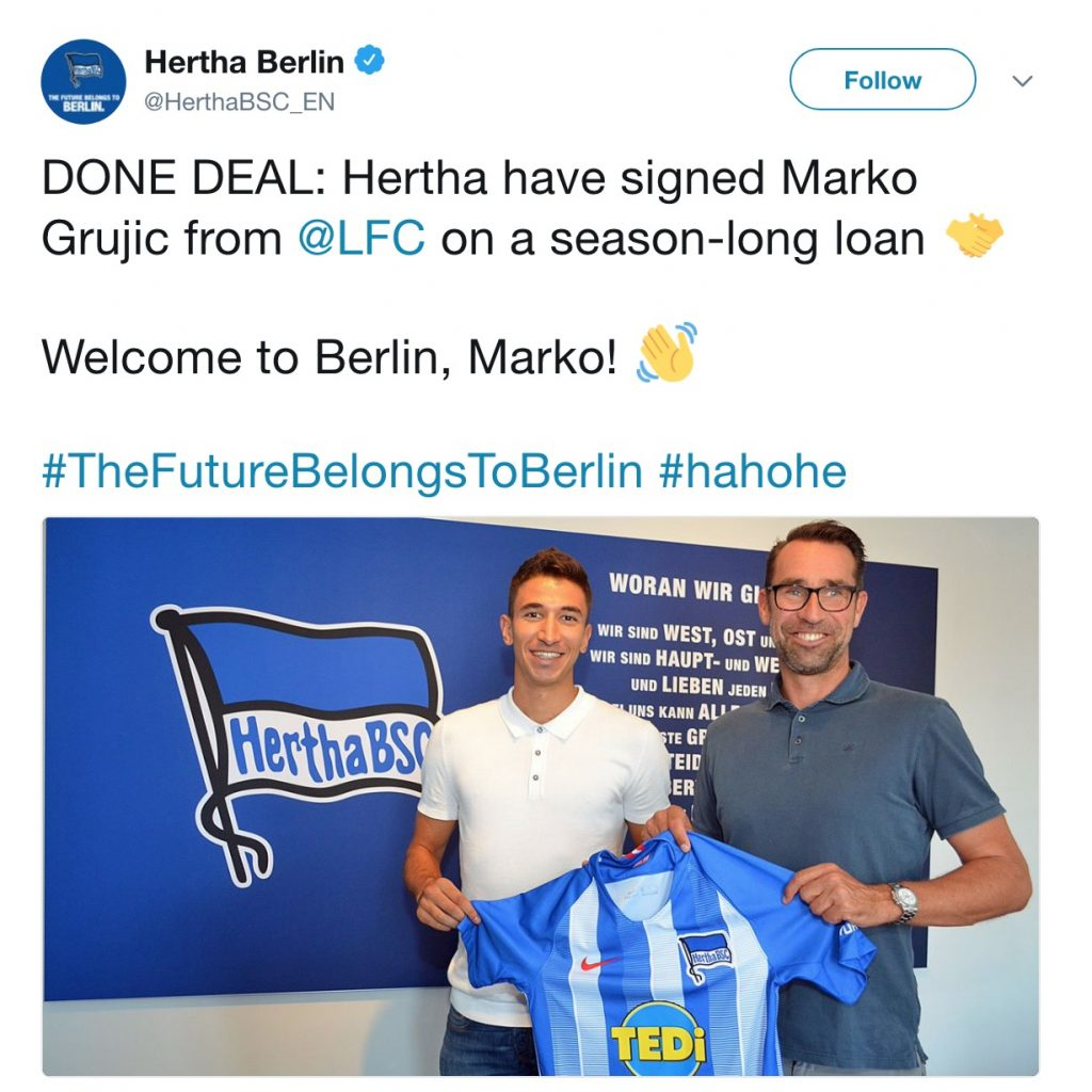 Grujic signs for Hertha Berlin on loan