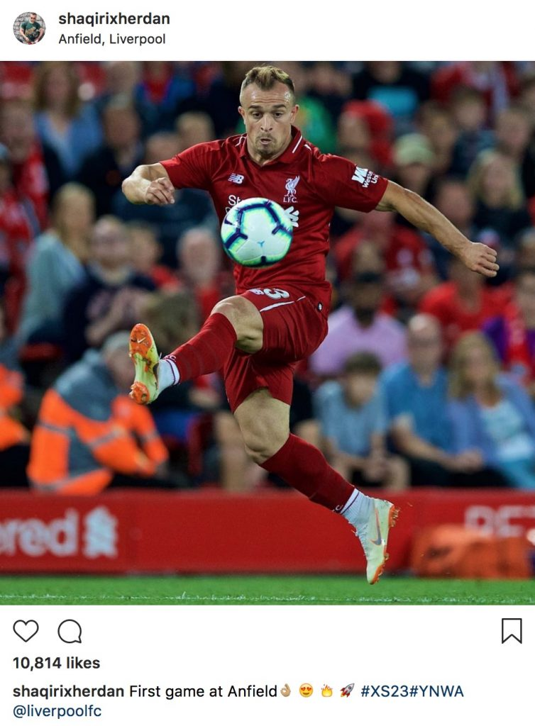 Shaqiri on his Anfield debut / Instagram
