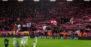 Bayern players and fans at Anfield