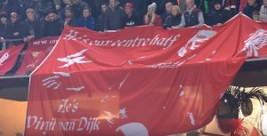 Virgil van Dijk banner in Munich