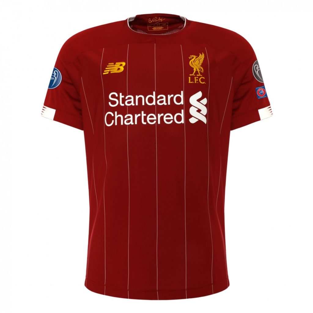buy popular b6135 1fe43 Liverpool's Champions League '6 time winners' home shirts ...