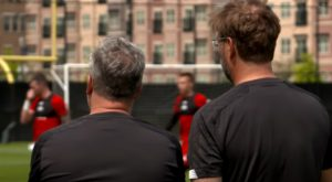 Klopp watching on LFC training on LFC's 2019 US Tour