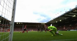 Wijnaldum puts it through the keepers legs at Sheffield United