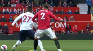 Divock Origi fouled in the build up to the United goal