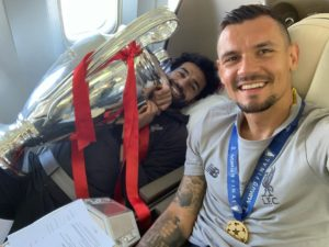 Dejan Lovren and Mo Salah with the European Cup