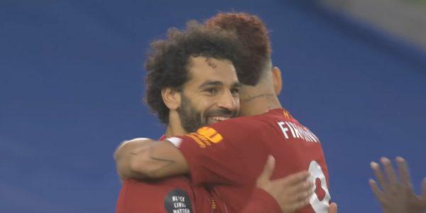 Salah celebrates with Firmino