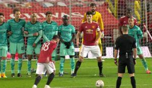 Bruno Fernandes scores a free kick against Liverpool