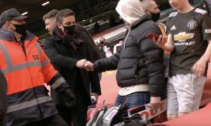 Gary Neville at Old Trafford protest